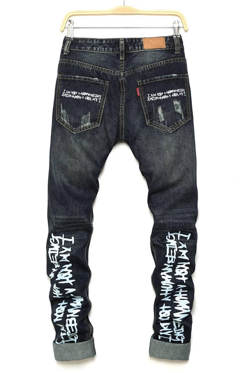 Biker Jeans Men New Designer Personalized Letter Printing Ripped Jeans Pants High Quality Hip Hop Streetwear Slim Denim Trousers streetwear mens jeans ripped denim full pants new famous brand biker jeans men high quality slim patch jeans plus size 1604