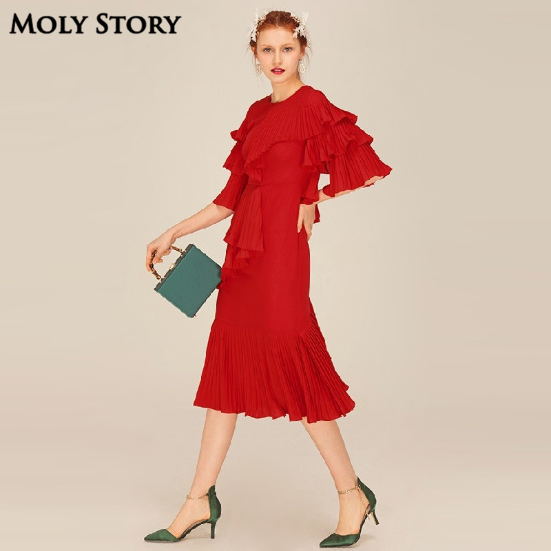 Super! Elegant Silk Red Pleated Dresses Cute Ruffle Long Dress Slim - Women's Clothing - Photo 2