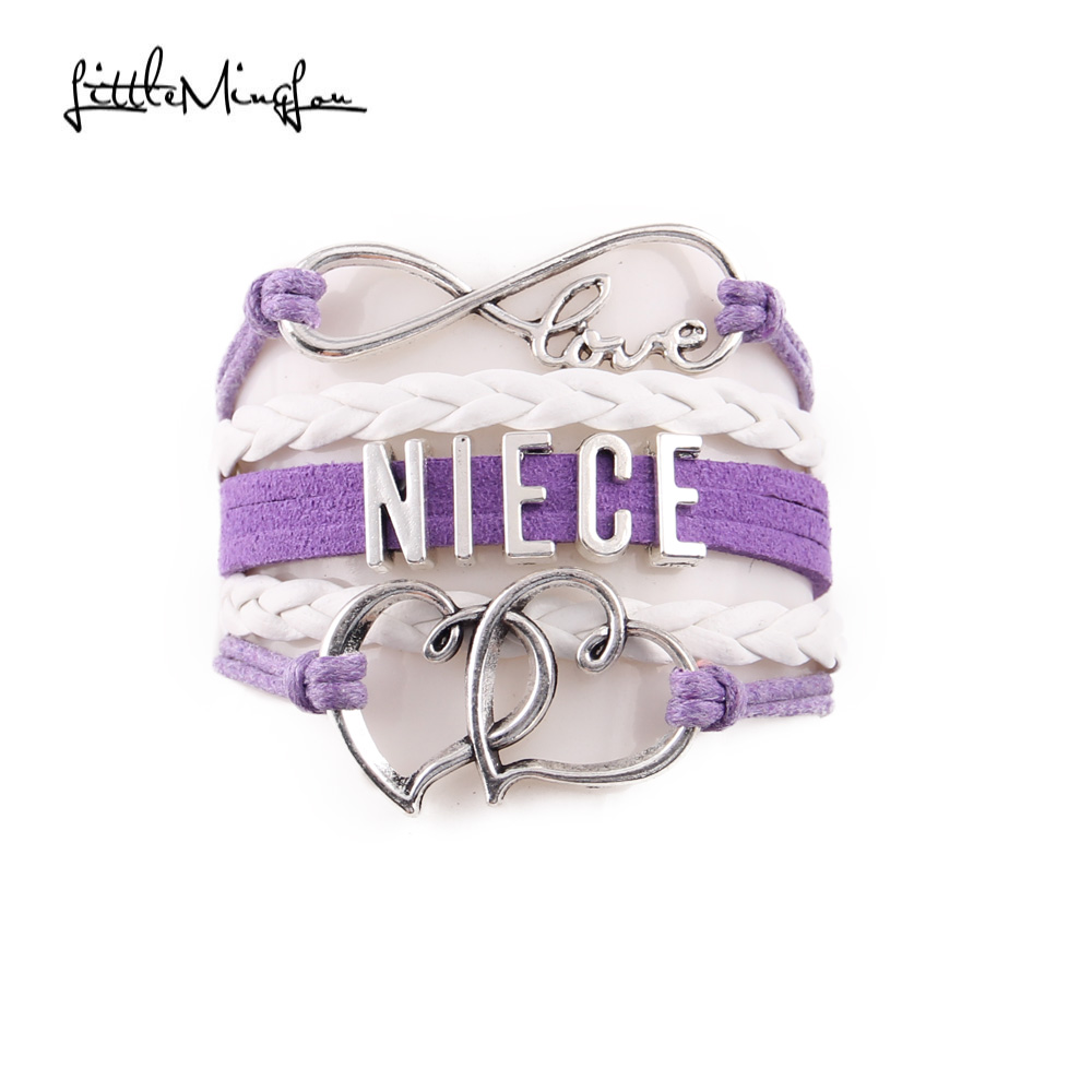 Little Minglou Infinity love Niece bracelet double heart charm leather wrap bracelets & bangles for women jewelry family gift ...