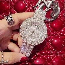 2016 nuevo estilo! Mujeres de Calidad superior de Relojes de Lujo de Acero Llena de diamantes de Imitación Reloj de Pulsera de Vestir de Señora Crystal Relojes de Mujer de Cuarzo Reloj