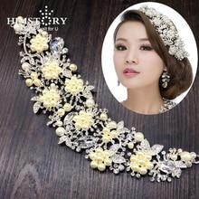 HIMSTORY Gorgeous Handmade Bride Wedding Pearl Crystal Hair Tiaras Queen Princess Crown Accessories Hairwear