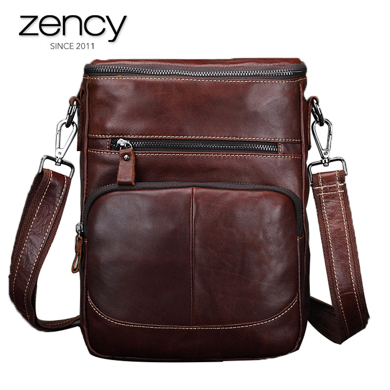 Man's Cow Oil Wax Leather Handbags Men's High Capacity Vintage Crossbody Bags Multi Pockets Shoulder Bag for Male Coffee Packs high quality cow leather women bag vintage oil leather wax smiley crossbody bag summer bags 4colors cute pig face bag 3025
