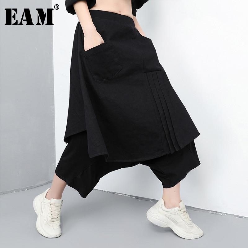 [EAM] 2020 New Spring Autumn High Elastic Waist Black Loose False Two Stitch Loose Wide Leg Pants Women Trousers Fashion JQ414