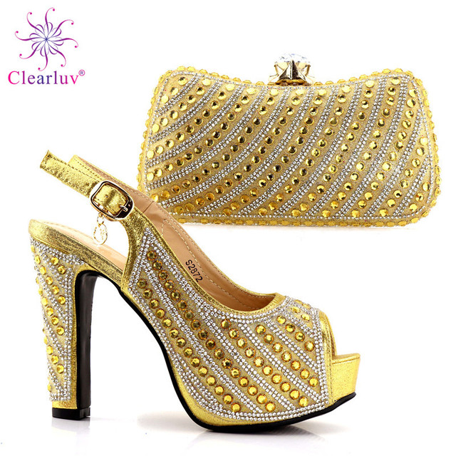 2018 Ladies Shoes and Bag Set African Sets Italian Shoes with Matching Bags  green Women Shoes and Bag for party Gold Color 84c798b91617