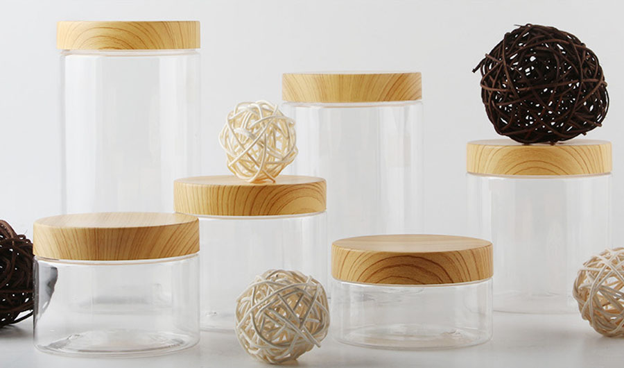 12 X 200ml 300ml 400ml 500ml 800ml 1000ml  Empty Clear PET Jars Containers With Plastic Imitation Wood Lids