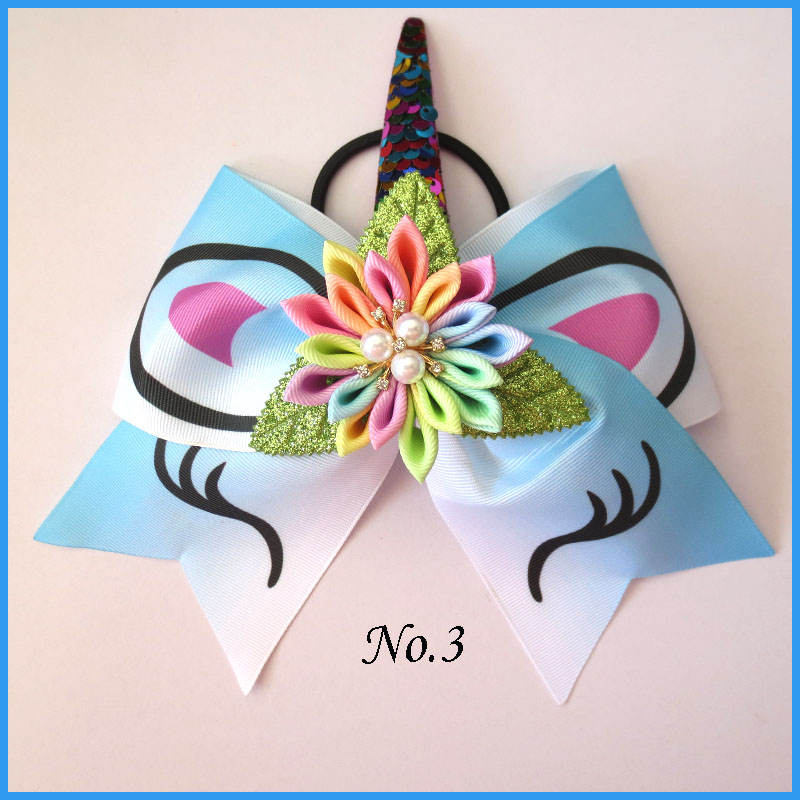 100 BLESSING Good Girl 4.5 Inch Spangle Cheer Leader Bow Elastic Flash Wholesale