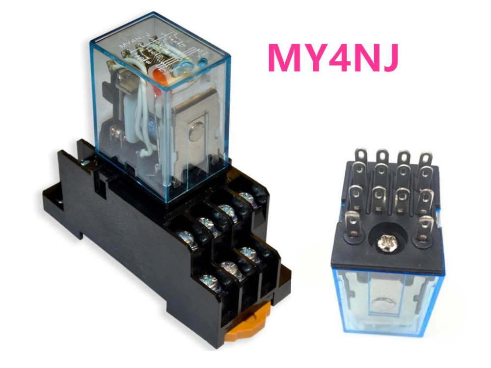 1set MY4NJ DC12V AC12V DC24V AC24V Coil 4NO 4NC Relay DIN Rail 14 Pin + Base Mini relay 3pcs dc24v coil 3pdt 11pin din rail electomagnetic relay w socket free shipping