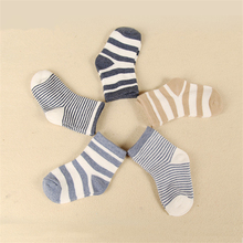 5 Pair/lot Baby Boy Stripes Socks 5 Kinds Style Soft Cotton Infant Socks Cute Cartoon Pattern Kids Socks For Baby Boy Blue Black