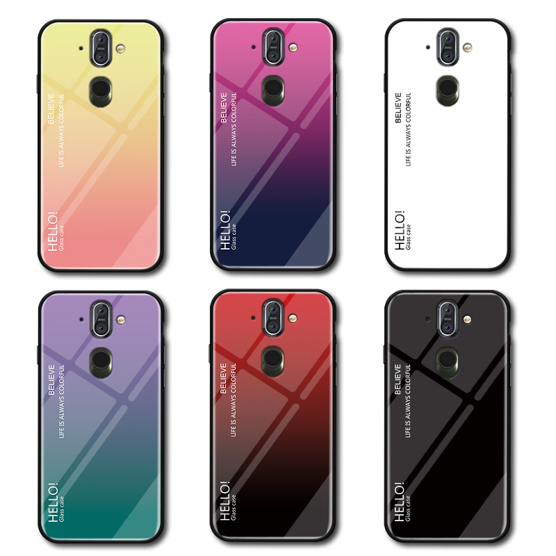 Case For Nokia 8 sirocco Back Cover Nokia 8 sirocco Luxury Tempered Glass Colorful Soft case For Nokia 8 sirocco case kimTHmall
