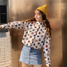Womens cotton lapel long-sleeved shirt fashion wild color funny love printing college wind loose casual girl white top