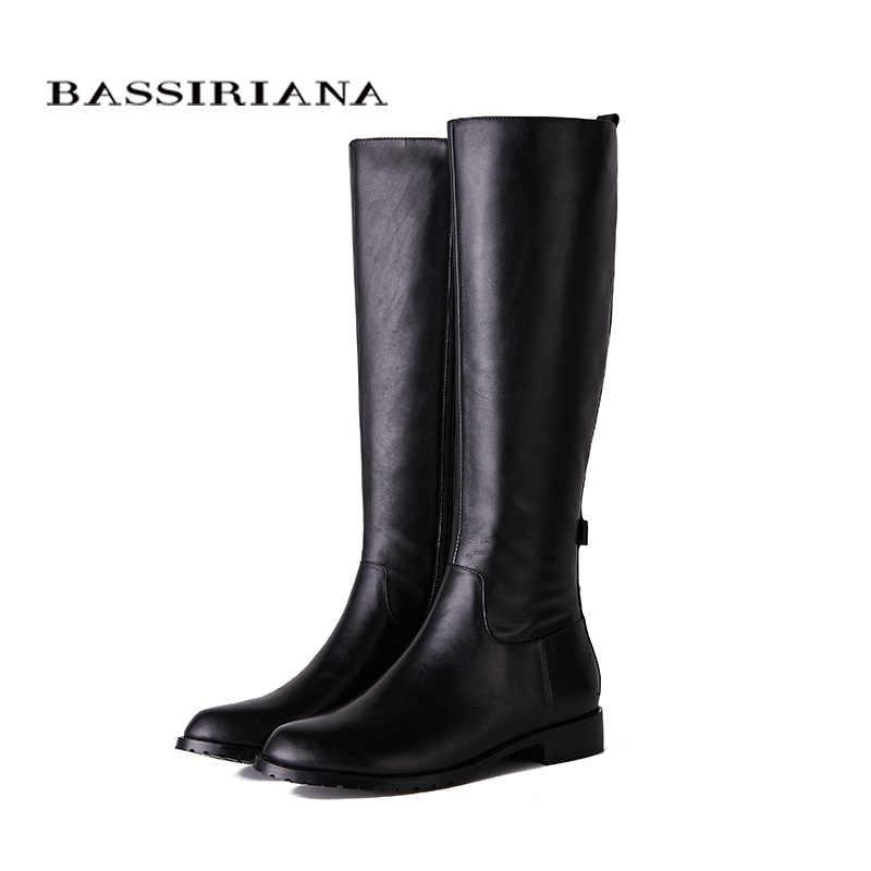 BASSIRIANA Yeni 2018 hakiki deri yüksek çizmeler ayakkabı kadın kare topuklu yuvarlak ayak zip ile Inci ve perçin siyah 35 -40 boyutu