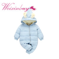 WEIXINBUY Infant Winter Long Sleeve Rompers Baby Hooded Warm Children Outdoor Rompers Kids Baby Girls Boys