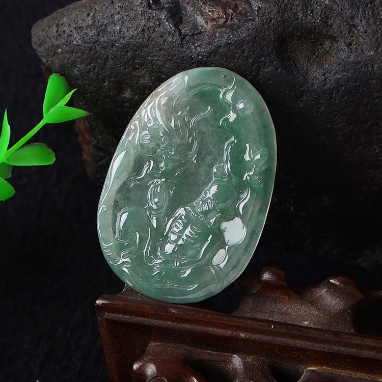 Burma natural A cargo Jade pendant old pit ice Dragon Rohan Certificate Free shipping цена и фото