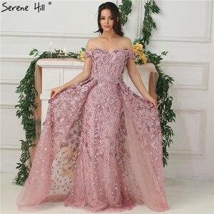 Image 1 - 핑크 오프 어깨 수제 꽃 이브닝 드레스 2020 민소매 크리스탈 섹시한 럭셔리 이브닝 가운 실제 사진 la6596