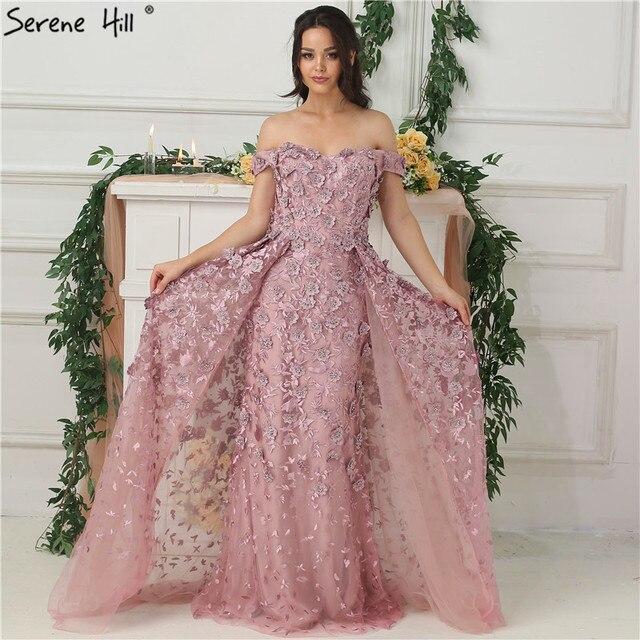 핑크 오프 어깨 수제 꽃 이브닝 드레스 2020 민소매 크리스탈 섹시한 럭셔리 이브닝 가운 실제 사진 la6596