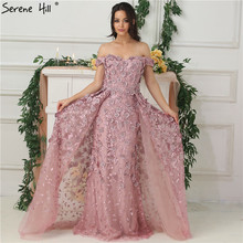 Pink Off Shoulder Handmade Flowers Evening Dresses 2020 Sleeveless Crystal Sexy Luxury Evening Gowns Real Photo LA6596