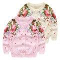 Cardigan Primavera, MENINAS outono casaco novo camisola, 100% algodão de boa qualidade single-breasted camisola do bebê roupa da menina de flor