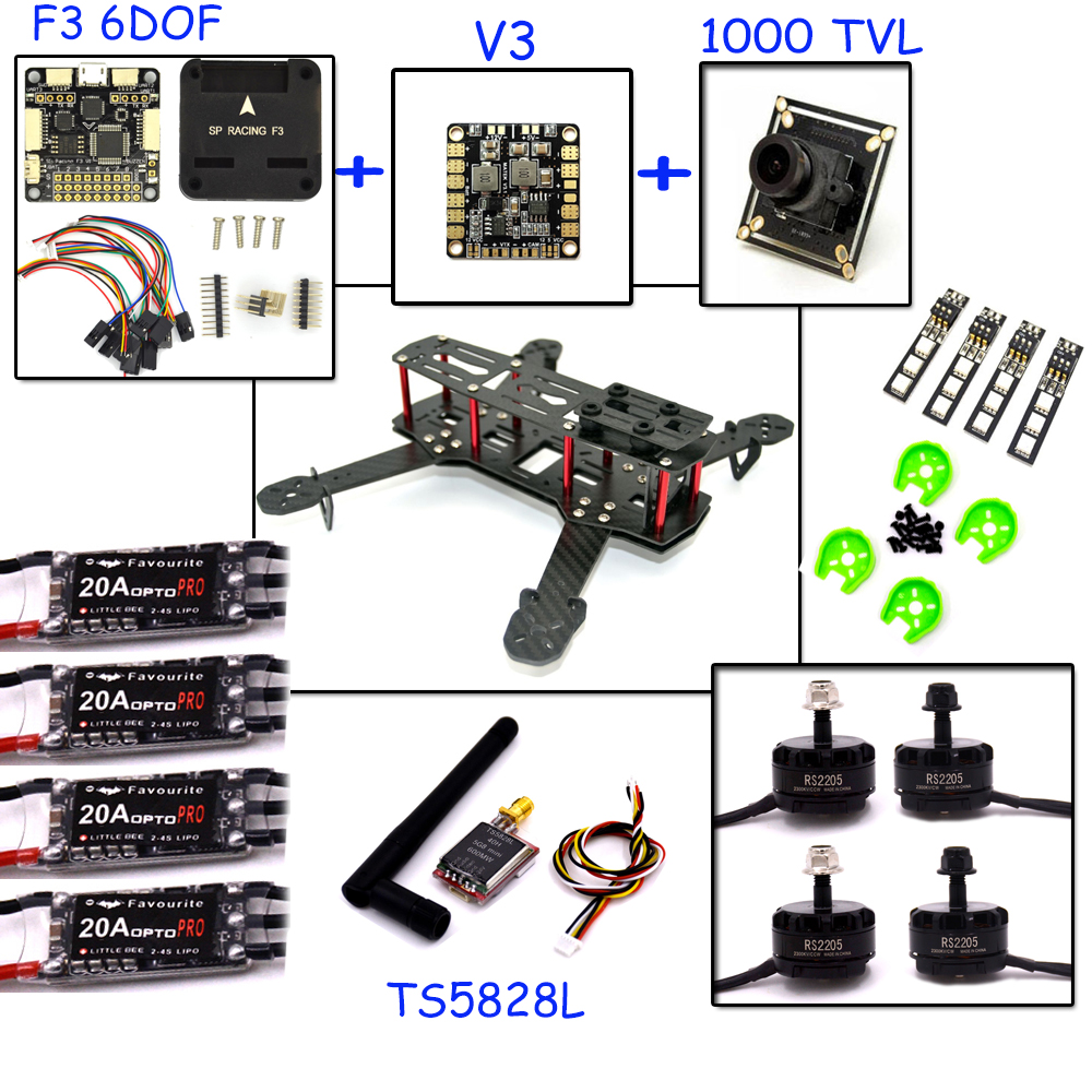 drone with camera RC plane QAV 250  Carbon  Frame F3 Flight Controller emax RS2205 2300KV Motor Fiber Mini Quadcopter rc plane 210 mm carbon fiber mini quadcopter frame f3 flight controller 2206 1900kv motor 4050 prop rc