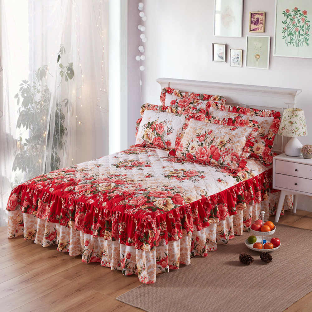 Home Decor Ethnic Flower Pattern Bedclothes Polyester Ruffled Bed Skirt Sheet Queen King Bedding Bedspread Romantic Wedding Bed