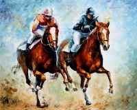 Free Shipping Artist Hand painted Modern Decorative Polo Oil Painting For Living Room Decoration Horse Racing Oil Painting