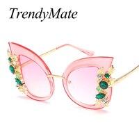 TrendyMate 2017 Fashion Brand Designer Cat Eye Women Sunglasses Female Gradient Points Sun Glasses Big Oculos