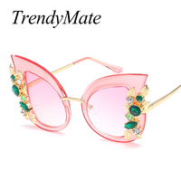 TrendyMate 2017 Fashion Brand Designer Cat Eye Women Sunglasses Female Gradient Points Sun Glasses Big Oculos