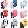 2016 Новые детские мальчики девочки боди одежда набор Осень одежда набор боди + брюки 2 шт. для девочка мальчик 0-24 М