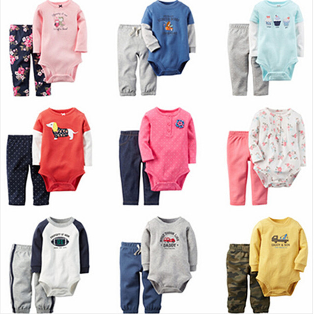 2016 New baby boys girls bodysuits clothing set Autumn clothes set bodysuit+pants 2pcs for baby girl boy 0-24M