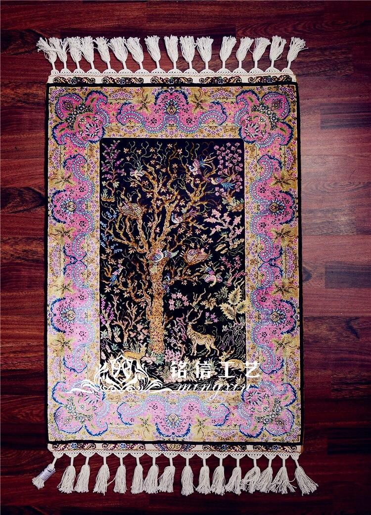 2'x3' Древо жизни турецкий ковер шелк ковры ручной работы стены s ручной переплетения персидский ковры коврик для комнаты