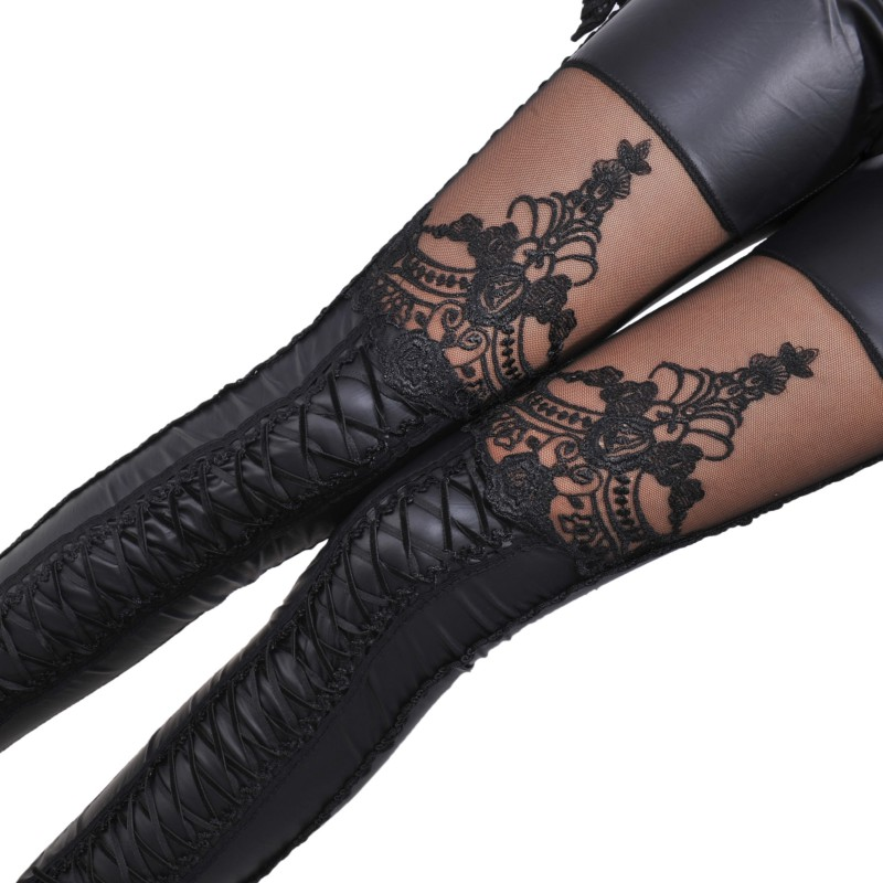 Fashion Sexy Woman Stitching Lace Stretch Skinny Leg Faux Leather Leggings Women Pants Punk  Autumn Skinny Pant