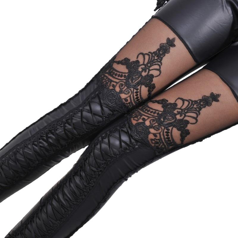 Fashion Sexy Woman Stitching Lace Stretch Skinny Leg Faux Leather Leggings Women Pants Punk  Autumn Skinny Pant