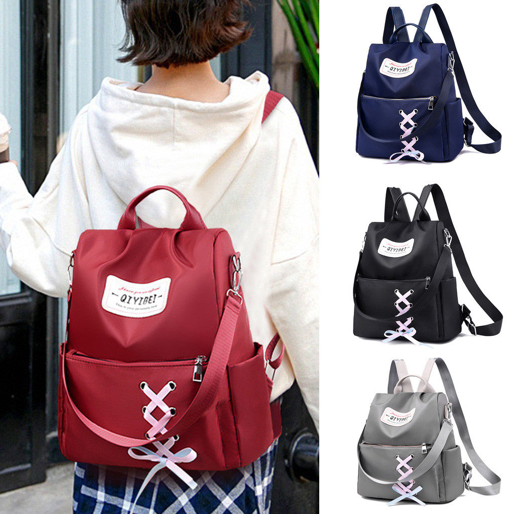 anti-theft backpack Fashion Girl Nylon Solid Color Anti-Theft Travel College Backpack Straps Handba Preppy Style Soft  Teenage