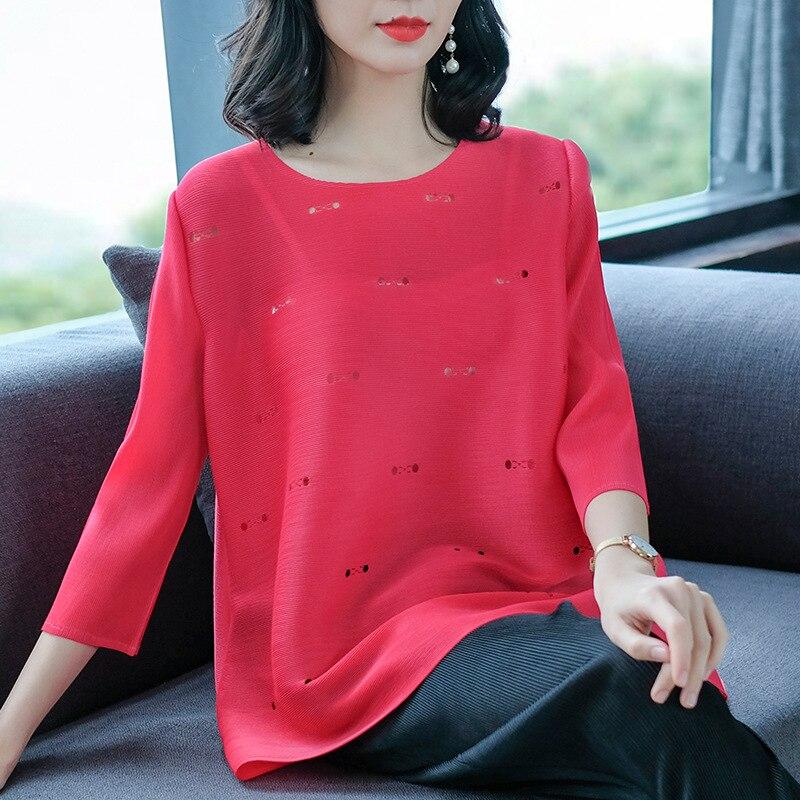 Miyake mode sexy sauvage creux chemise 2019 printemps nouveau femmes lâche grande taille col rond version coréenne dames chemise