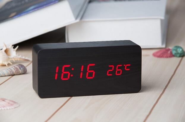 Digital LED Alarm Clock Sound Control Wooden Despertador Desktop Clock USB/AAA Powered Temperature Display