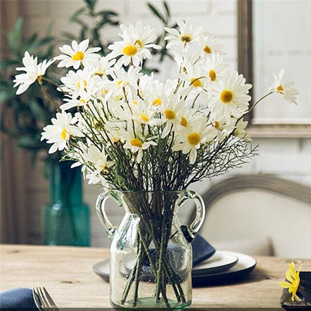 5หัว/ประดิษฐ์Dasiyดอกไม้ผ้าไหมปลอมดอกไม้ตกแต่งStamen Daisyขนาดเล็กสำหรับงานแต่งงานดอกไม้ตกแต่งบ้าน
