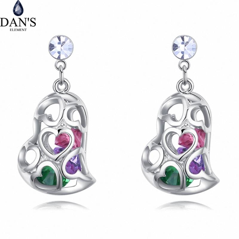 DANS 4 Colors Real Austrian crystals Stud earrings for women Earrings s New Sale Hot Round 128025