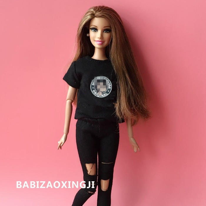 2pcs/set 1/6 blyth Doll Clothing Carton Casual T-shirt + jeans for 30cm Blyth Pullip Girl Pants Doll Accessories for barbie doll2pcs/set 1/6 blyth Doll Clothing Carton Casual T-shirt + jeans for 30cm Blyth Pullip Girl Pants Doll Accessories for barbie doll