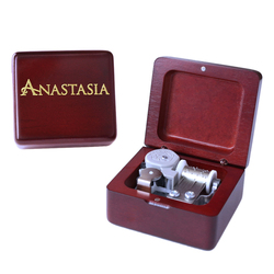 Handmade Wooden Anastasia Music Box Birthday Gift For Christmas Valentine's day special gifts for lovers, childrens Wine red