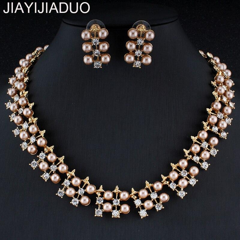Hochzeits- & Verlobungs-schmuck PüNktlich Jiayijiaduo Klassische Imitation Perle Halskette Ohrring Set Für Frauen Braut Hochzeit Schmuck Zubehör Schmuck Set Dropshipping