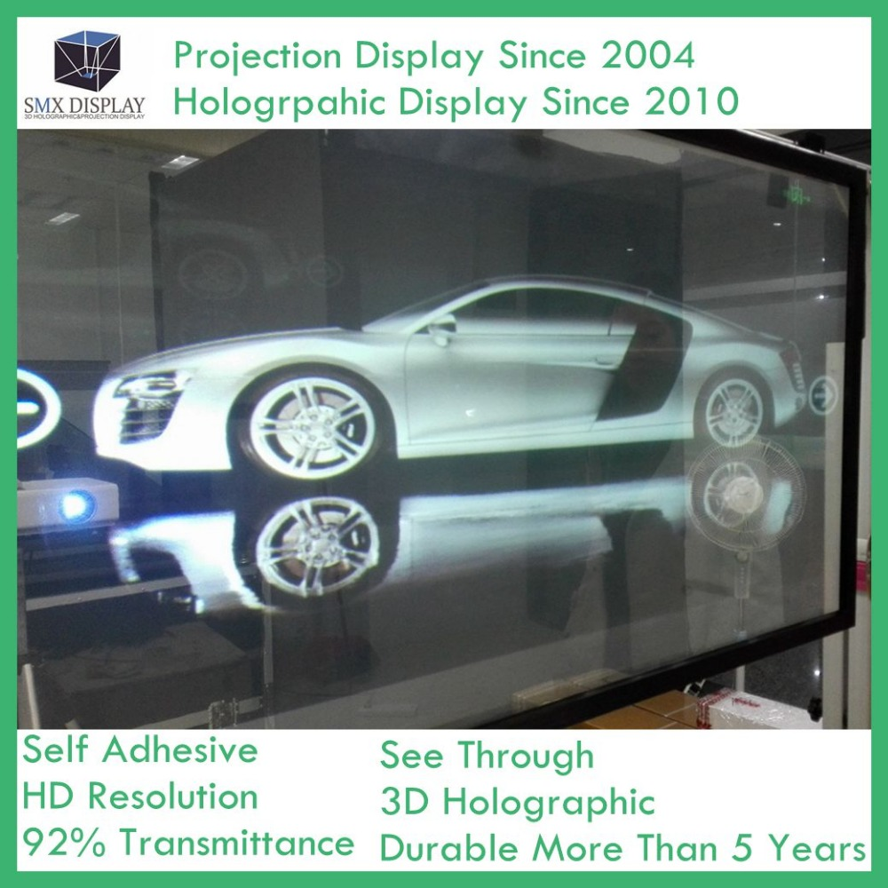 1.52x1m Holographic Rear Projection Film For Glass Window 18 5 dark gray and light gray and white and transparent holographic rear projection film