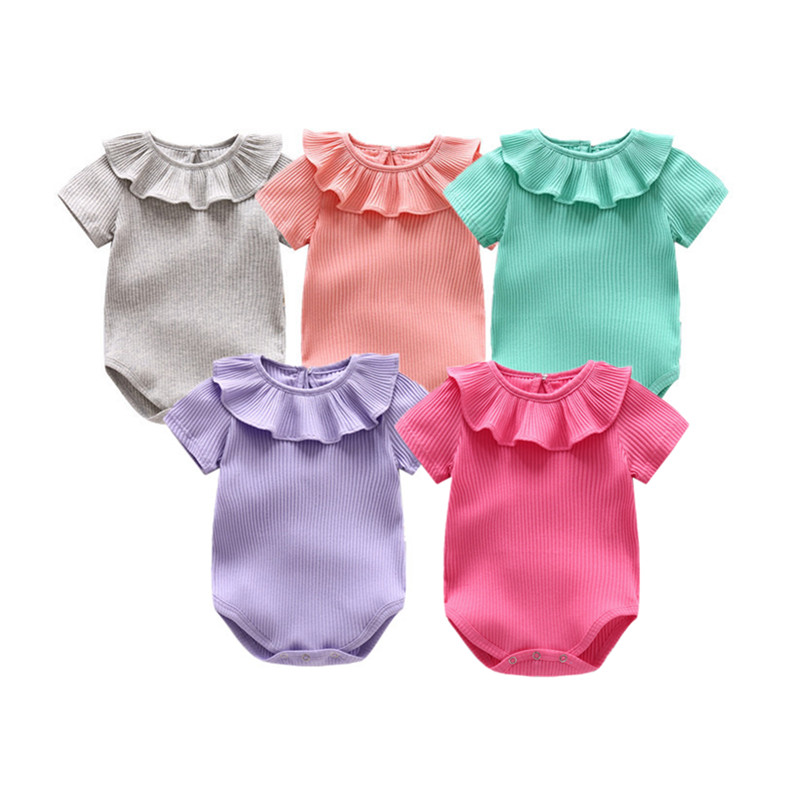 2017 New Summer Baby Girl Clothes Knitted Cotton Ruffles Collar Short-sleeved Romper Baby Infant Jumpsuit Newborn Stitch Costume baby clothing summer infant newborn baby romper short sleeve girl boys jumpsuit new born baby clothes