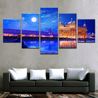 Indian Golden Temple Poster 5 Pieces High Quality Canvas Painting Wall Art Home Decor For Modern