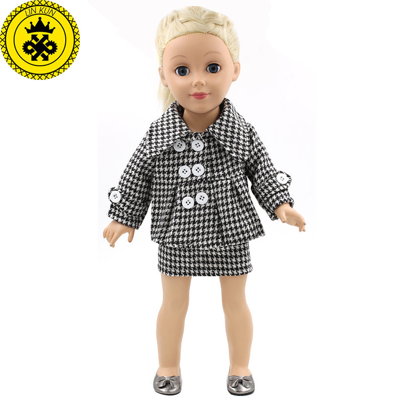 American Girl Dolls Clothing Houndstooth Business Attire Doll Clothes of 18 inch Doll Dress Girls Best Birthday Gift  MG-125 american girl doll clothes halloween witch dress cosplay costume doll clothes for 16 18 inch dolls madame alexander doll mg 256