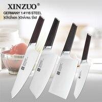 XINZUO 4 ชิ้นชุดมีดครัวชุดสแตนเลสเยอรมัน 1.4116 สแตนเลสคุณภาพสูงเชฟ Santoku Nakiri Boning มีด Ebony Handle