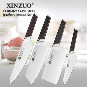 Image 1 - XINZUO 4 sztuk zestaw noży kuchennych ze stali nierdzewnej niemiecki 1.4116 stali wysokiej jakości kucharz Santoku Nakiri odkostnianie noże hebanowy uchwyt