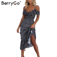 BerryG Off Shoulder Boho Ruffle Mermaid Long Dress Elegant Chiffon Flower Print Maxi Dress Vestidos Sexy