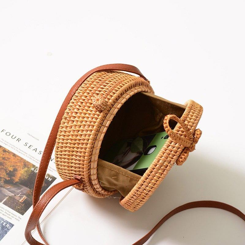 FEMALEE Circular Casual Rattan Bag 2019 Ins Summer Purse Handmade Bali Beach Shoulder Bow Bags Woven Bohemian Handbag Sac A Main 3