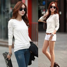2017 Women Clothing Ladies Fashion O-Neck Long Sleeve Lace Flower Splicing Cotton Shirt 30