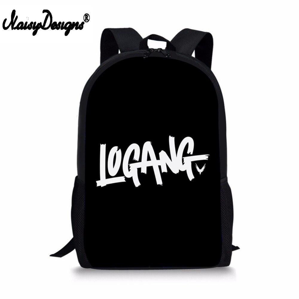 adb4f2ae13 Fashion Backpack Mochila Escolar Black Logang Logo Logan Paul Children  School Bags for Teen Boy Girls Student Pencil Custom Bags