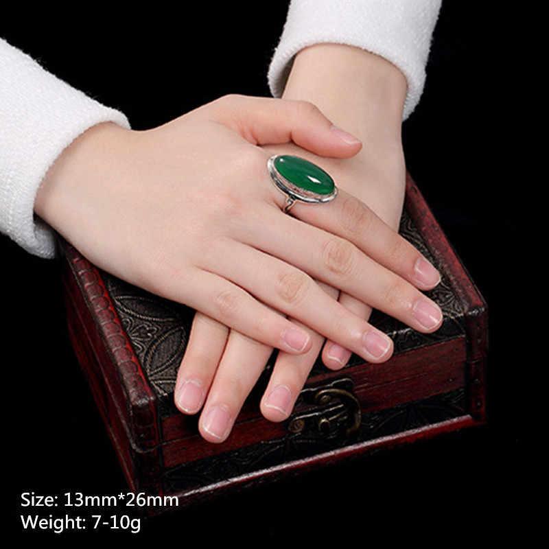 ไม่ปลอม S925 Fine Antique Shop แหวนแหวนมรกต Luxury Taste Women Handmade VINTAGE ธรรมชาติ Chalcedony moldavite Peridot AR